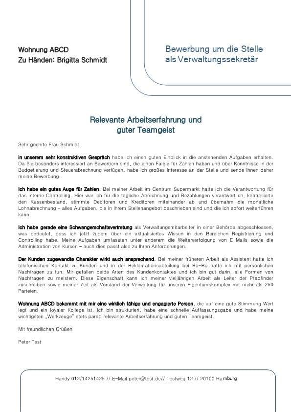 1 adminstrationssekretr m_w mit faible fr zahlen - Bewerbung Controlling