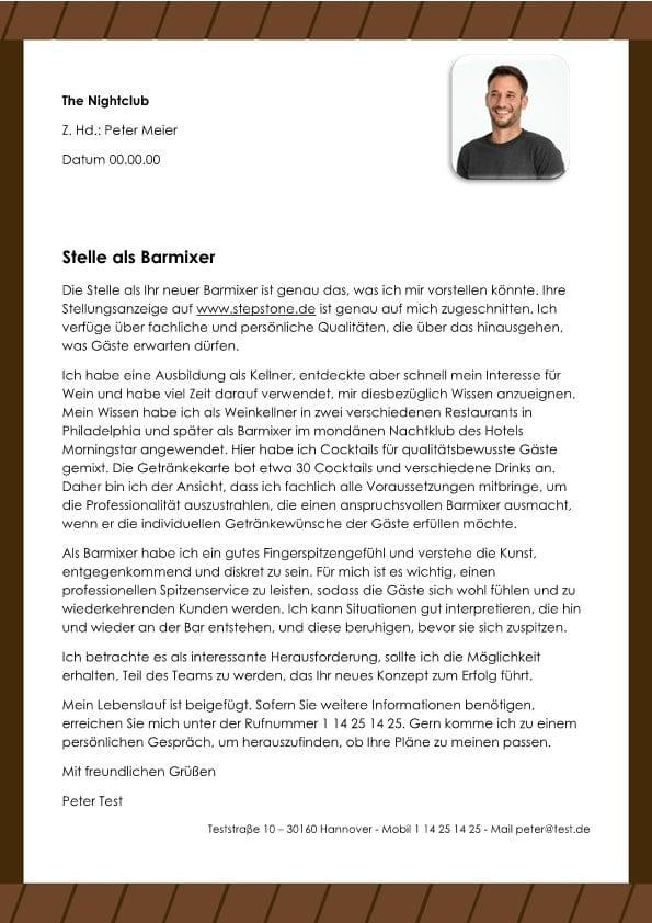 Kellner m/w - Cafe-Bar - CV & Bewerbung
