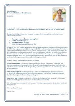 1 Empfangssekretär_in Hilfskraft Sekretariatsaufgaben