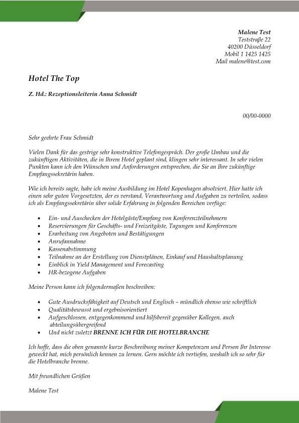 Empfangssekretär m/w Hotel - CV & Bewerbung