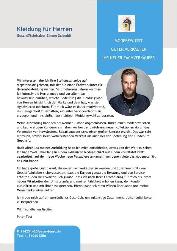Fachverkäufer m/w - Herrenmode - CV & Bewerbung