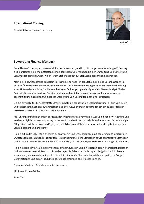 Finance Manager - CV & Bewerbung