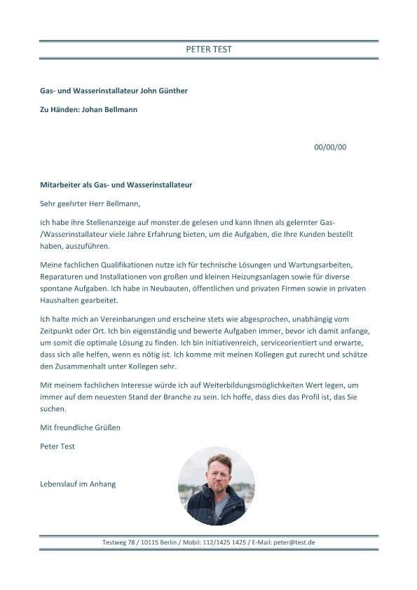 Gas- und Wasserinstallateur m/w - CV & Bewerbung