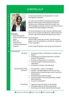 1 Hybrid-Lebenslauf-mit-Zusammenfassung-und-Fachkompetenzen-grün-2-Seiten