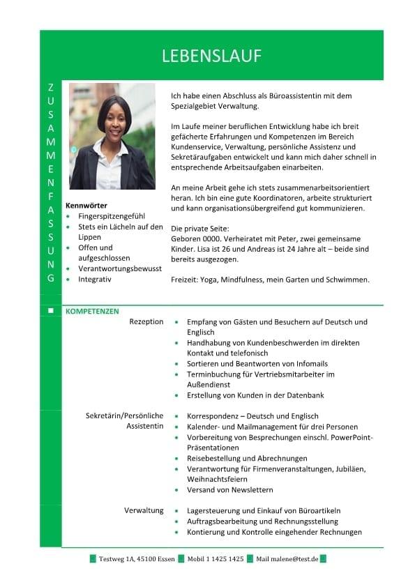 Hybrid Lebenslauf Mit Zusammenfassung Und Fachkompetenzen Grün