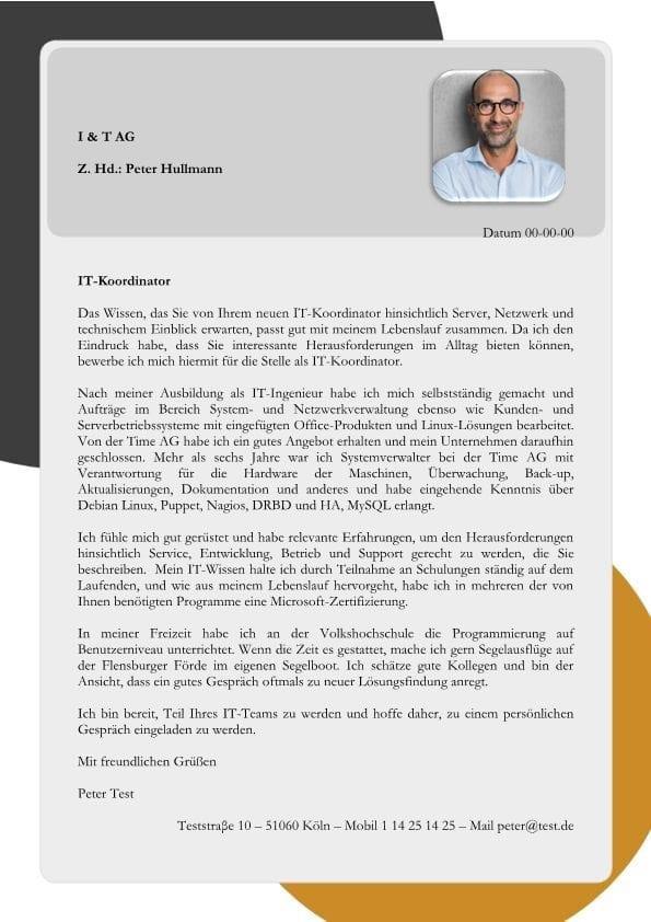 IT-Koordinator - Ingenieur m/w - CV & Bewerbung