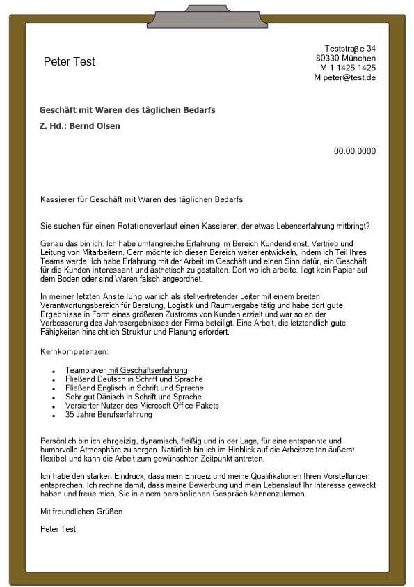 Kassierer Mw Für Geschäft Mit Waren Des Täglichen Bedarfs Cv