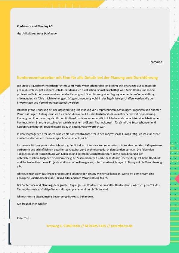 Konferenzmitarbeiter m/w Planung - CV & Bewerbung