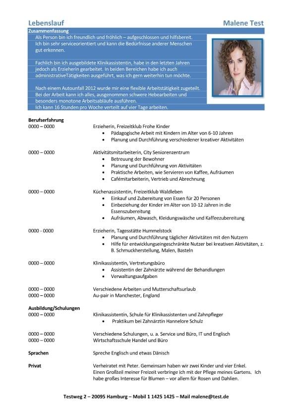 1 Lebenslauf-Chronologisch-Flexible-Arbeitstätigkeit-blau