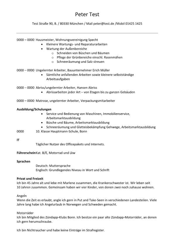 Lebenslauf mit Beurteilungen und Berufsprofil Hausmeister 2 Seiten ...