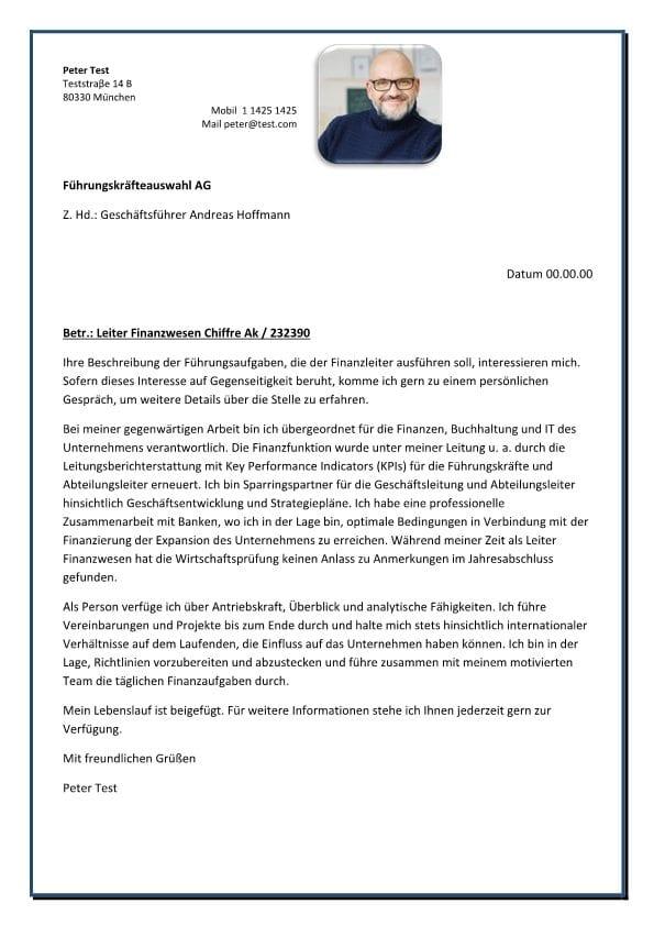 Leiter Finanzwesen m/w - CV & Bewerbung