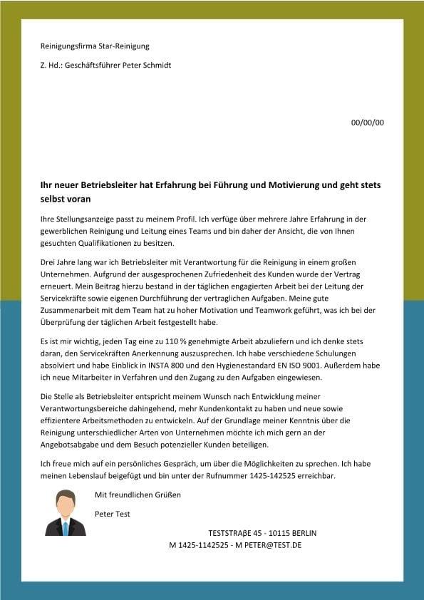 Leiter m/w Reinigung - CV & Bewerbung