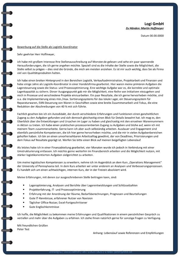 Logistik- Koordinator m/w - CV & Bewerbung
