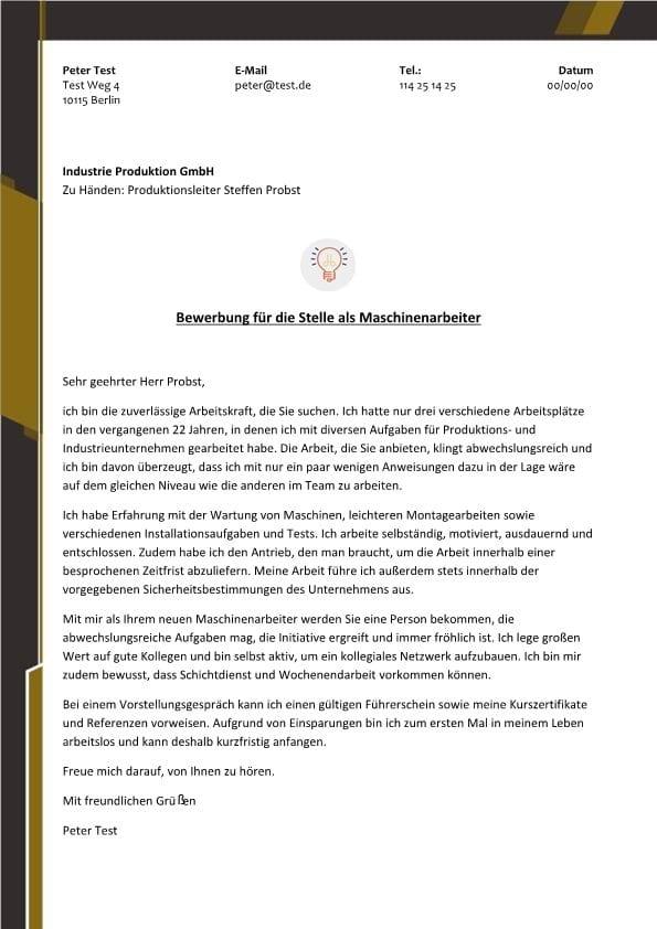 1 maschinenarbeiter m_w industrie produktion - Bewerbung Als Maschinenfhrer