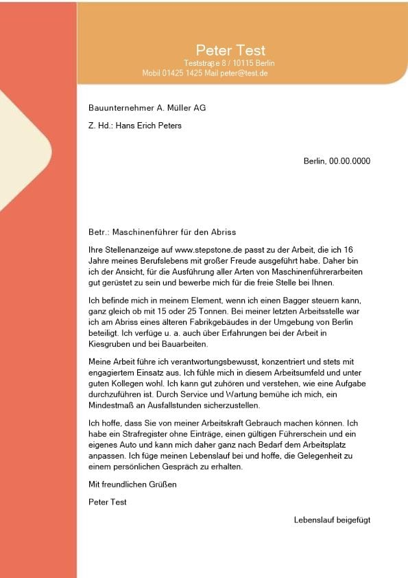 Maschinenführer m/w für den Abriss - CV & Bewerbung