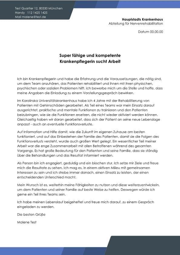 Pflegefachkraft m/w fleissig und kompetent - CV & Bewerbung