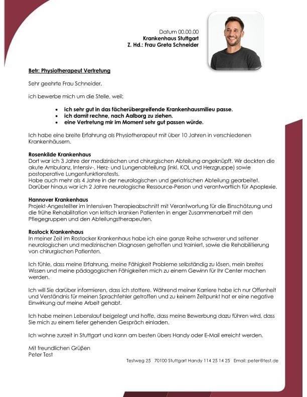 Physiotherapeut m/w für das Krankenhaus Vertretung - CV & Bewerbung