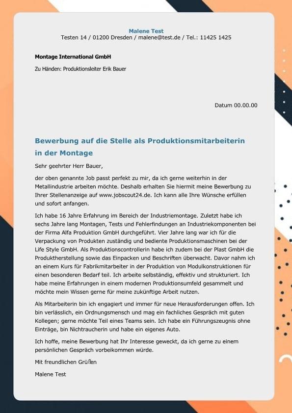 1 produktionsmitarbeiter m_w montage - Bewerbung Als Maschinenfhrer
