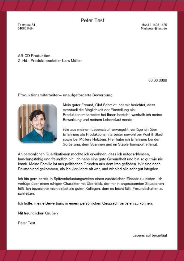 Produktionsmitarbeiter m/w - CV & Bewerbung