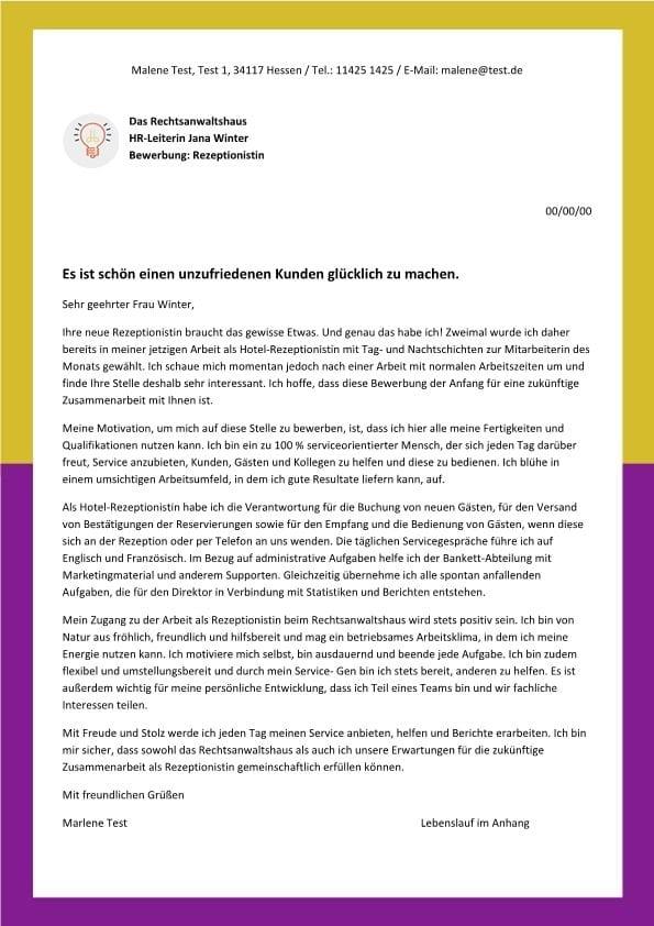 Rezeptionist m/w beim Rechtsanwalt - CV & Bewerbung