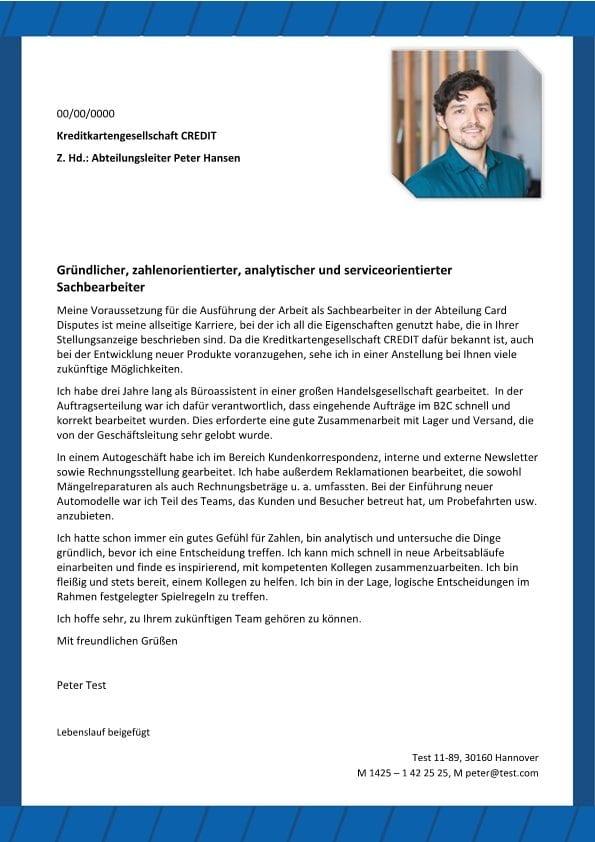 Serviceorientierte Sachbearbeiter m/w - CV & Bewerbung