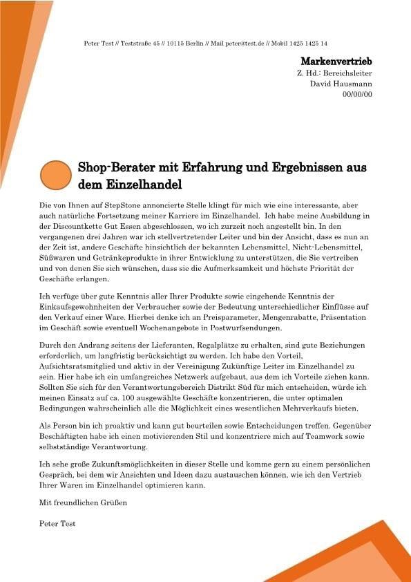 Shop-Berater m/w mit Bereichsverantwortung
