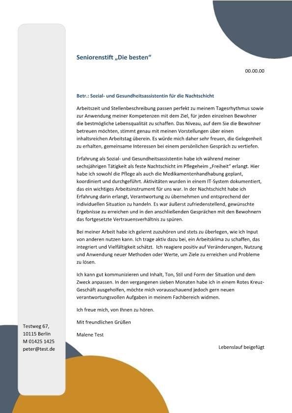 Sozial- und Gesundheitsassistent m/w Nachtschicht - CV & Bewerbung