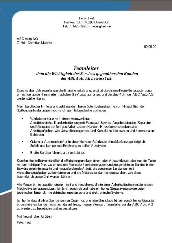 Teamleiter m/w Service Autowerkstatt - CV & Bewerbung