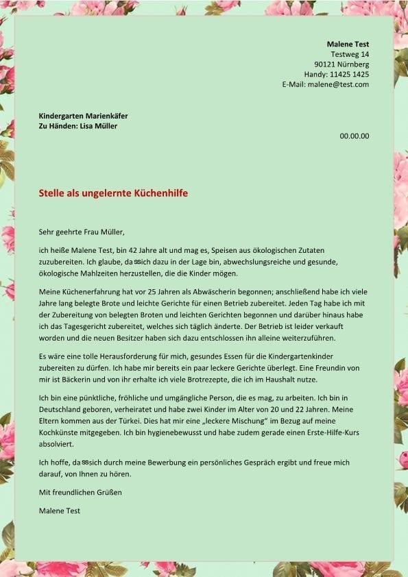 Ungelernte Küchenhilfe m/w - CV & Bewerbung