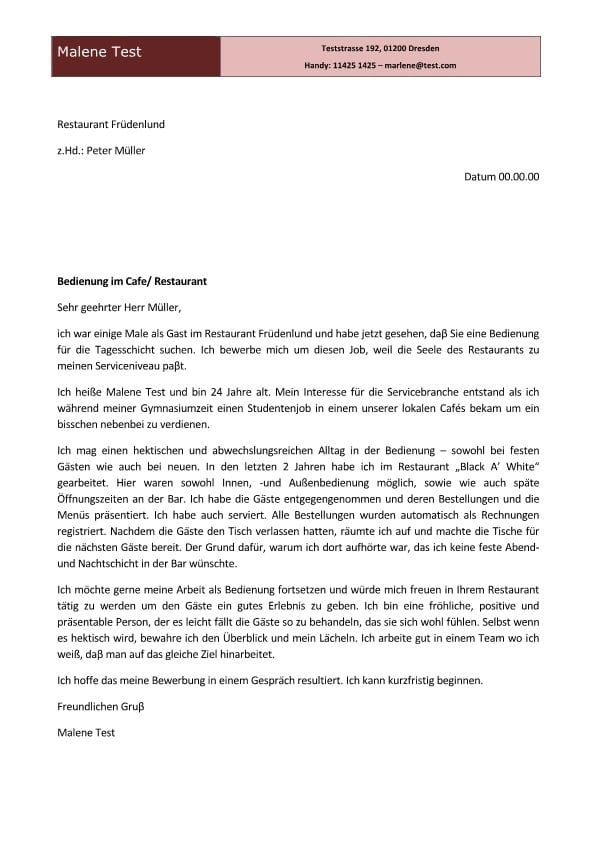 Gastwirt m/w für Restaurant - CV & Bewerbung