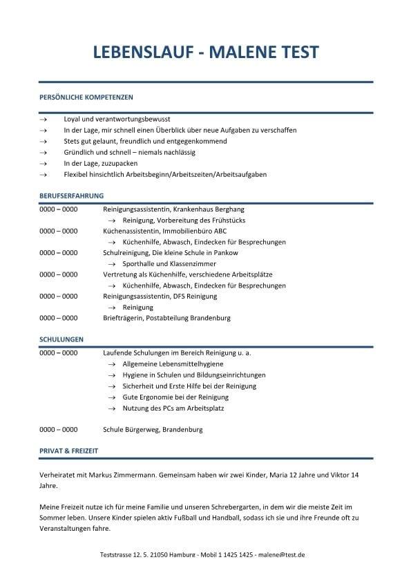 Lebenslauf Chronologisch Kompetenzprofil - Blau
