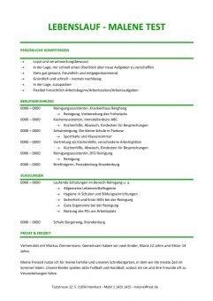 Lebenslauf Chronologisch Kompetenzprofil - Grün