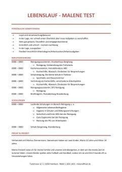Lebenslauf Chronologisch Kompetenzprofil - Rot