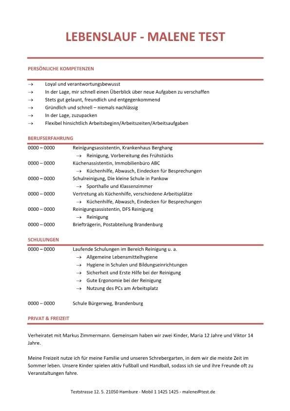 Lebenslauf Chronologisch Kompetenzprofil – rot - CV & Bewerbung