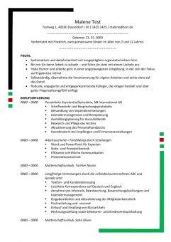 Lebenslauf Persönliche Assistentin - Sekretäring mit Profil 2 Seiten - Grün