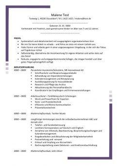 Lebenslauf Persönliche Assistentin - Sekretäring mit Profil 2 Seiten - Lila