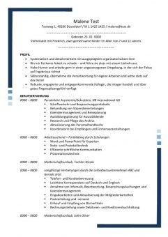 Lebenslauf Persönliche Assistentin - Sekretäring mit Profil 2 Seiten