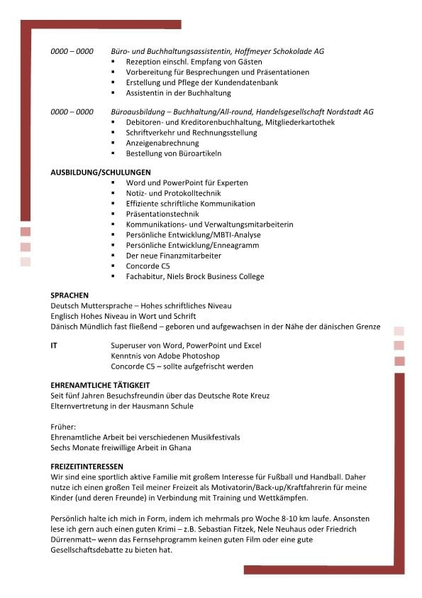 Lebenslauf Persönliche Assistentin - Sekretäring mit Profil - 2 ...