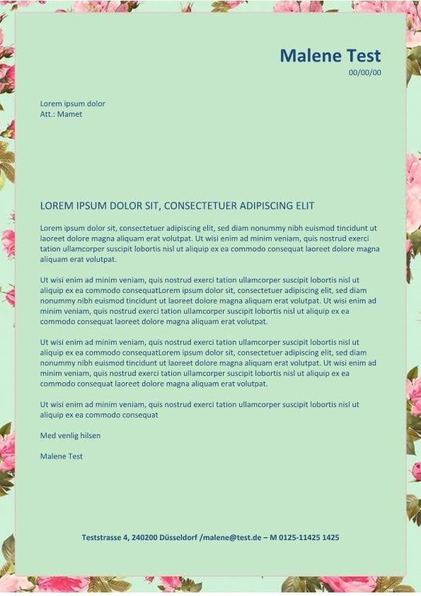 Bewerbung Und Cv Layout Mit Blumen Cv Bewerbung
