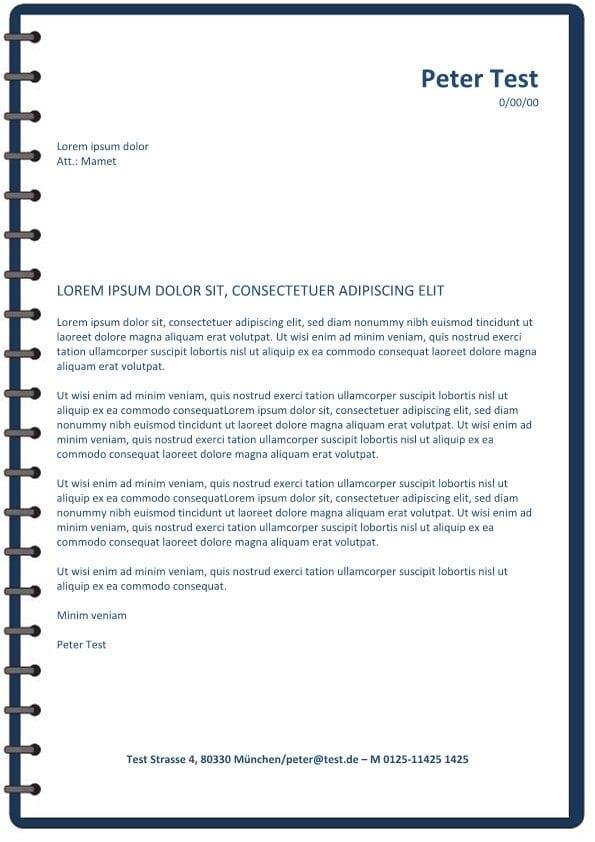 Bewerbung und CV Layout mit Spirale - blau - CV & Bewerbung