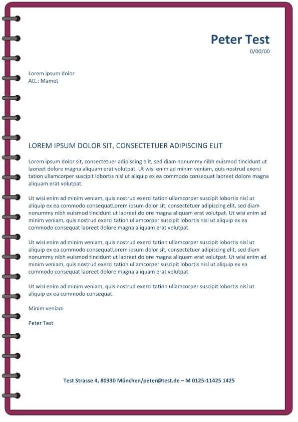 Bewerbung und CV Layout mit Spirale rot