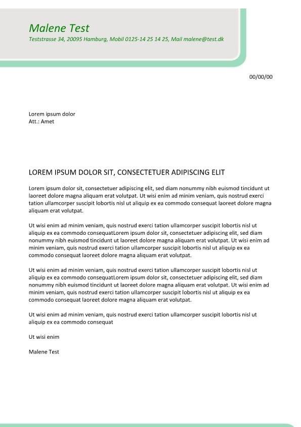 Bewerbung und CV mit grün font
