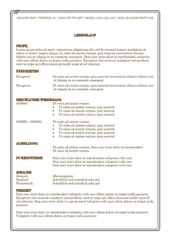 Lebenslauf - Vorlage mit brauner Schriftfarbe und Rahmen