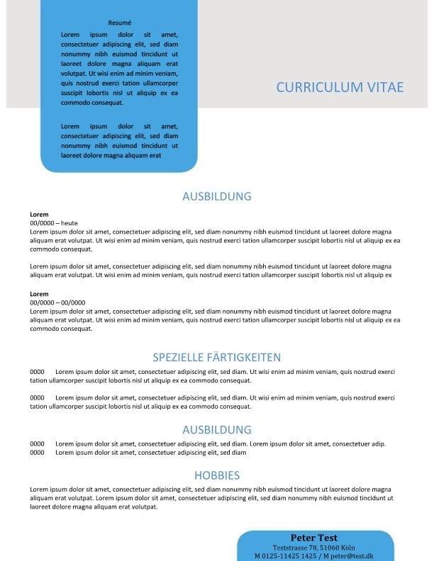 Skabelon Lebenslauf mit Zusammenfassung in Textbox - blau - CV ...