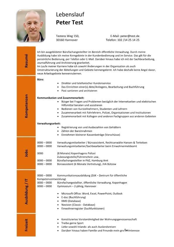 Lebenslauf Kompetenzen Büro Kommunikation Verwaltung - orange - CV ...