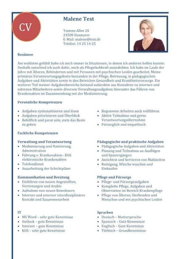 Lebenslauf Kompetenzen mit fachlichen Kompetenzen - blau - 2 Seiten ...