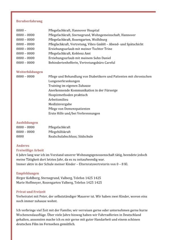 Lebenslauf Kompetenzen mit fachlichen Kompetenzen - rot - 2 Seiten ...