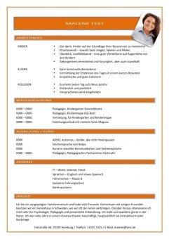 1 Lebenslauf-mit-Arbeitsprofil-orange