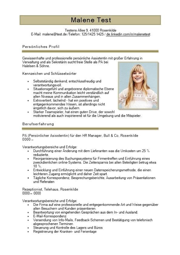 Lebenslauf mit persönlichen Profil Schlüsselwörtern -braun - 2 ...