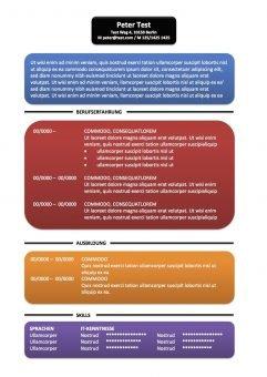 CV-Vorlage Textfelder - mehr Farben